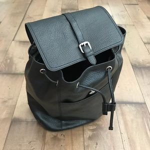 Cole Haan Leather Backpack Black Flap Pebble Large